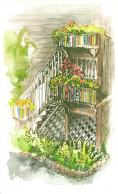 The back stairs to Moonraker Books, on Mcleod Alley, in Langley, on Whidbey Island, WA Pen And Watercolor, Watercolor Artists, Bookcase Stairs, Whidbey Island Washington, Ink Paintings, Painted Stairs, Future, Wall Art, Books