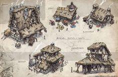 Medieval Shops + Houses, Gabe Kralik on ArtStation at https://www.artstation.com/artwork/NyBZP
