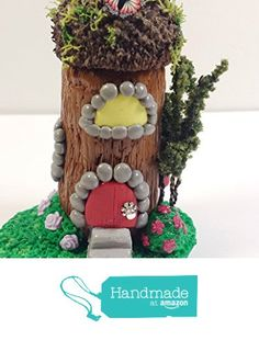 Miniature fairy house. Fairy garden accessories, terrarium décor. With red door, trees, butterfly, flowers and miniature mushroom. http://www.amazon.com/dp/B01BDYSEEU/ref=hnd_sw_r_pi_dp_J2pSwb1NV8CM5 #handmadeatamazon