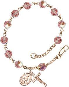 6mm Light Rose Swarovski, Austrian Tin Cut Aurora Borealis 14Kt Gold Filled Rosary Bracelet by Bliss | Catholic Shopping .com