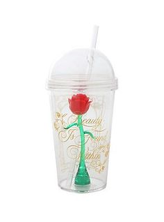Disney Beauty And The Beast Enchanted Rose Acrylic Travel Cup,