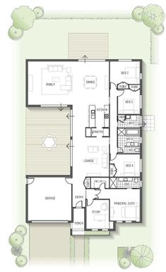 floor plan - Kamala 1832 From the Arise Collection House Layout Plans, New House Plans, Dream House Plans, Modern House Plans, Small House Plans, House Layouts, Modern House Design, House Floor Plans, Home Layout Design
