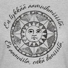 En tykkää aamuihmisistä. En aamuista, enkä ihmisistä. Vintage-tyylinen ja hieman kyyninen kuva enemmänkin illanvirkuille ja kuvan saa tilattuna monissa tuotteissa. #entykkää #suomeksi #vintage #mustahuumori #illanvirkku #aamuihminen #aamu #aamut #ihmiset #huumori #aamuihmiset #iltavirkku Compass Tattoo, Finland, Shirts, Vintage, Vintage Comics, Dress Shirts, Shirt
