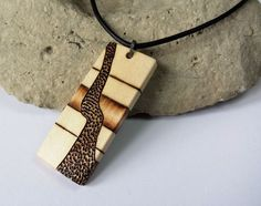 Mens Design Wood Pendant With Black Leather Necklace by SepiaTree, $29.99  #mens, #leather, #necklace