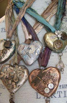 ON RESERVE Handmade Altered Necklace Vintage Statement Necklace Mixed Media Vintage Necklace Heart Pendant Jewelry Crafts, Jewelry Art, Handmade Jewelry, Bling Jewelry, Punk Jewelry, Bullet Jewelry, Gothic Jewelry, Handmade Necklaces, I Love Heart