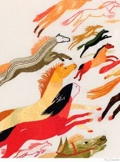 Horses / A New Jillian Tamaki Embroidery Illustration - Brown Paper Bag Illustration Inspiration, Horse Illustration, Paper Embroidery, Horse Art, Textile Art, Fiber Art, Illustrators, Sketches, Textiles