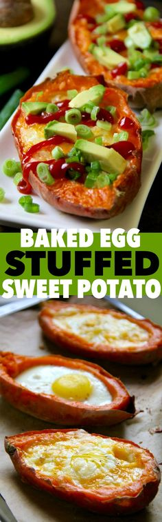 . baked egg stuffed sweet potatoes .