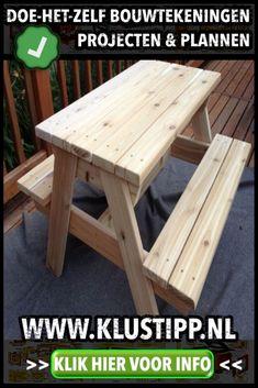 Zelf een houten #picknicktafel maken? Wil je weten hoe? #houtbewerking #bouwtekening #zelfmaken #steigerhout #klussen #lougebank #klusseninhuis #tuininspiratie #eigenhuisentuin #dhz #buitenkeuken #overkapping #klus #doehetlekkerzelf #bouwproject Picnic Table, Outdoor, Furniture, Home Decor, Birds, Homemade Home Decor, Decoration Home, Home Furniture, Outdoor Games