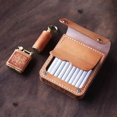 Overview: Design: Handmade Wooden Leather Mens Cigarette Case Cool Custom Cigarette Holder for MenIn Stock: Ready to Ship 4 days)Include: Only CaseCustom: NoColor: Beige, Black, CoffeeLeather: Full Grain LeatherMeasures: x x Handmade Leather Wallet, Leather Gifts, Leather Craft, Cigarette Holder, Cigarette Case, Leather Projects, Wallet Chain, Chains For Men, Handmade Wooden