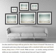 Large Wall Art Teal Abstract Beach Decor Print by LisaRussoFineArt, $70.00- This shows how different sized prints look up on the wall.  Very helpful!  :)