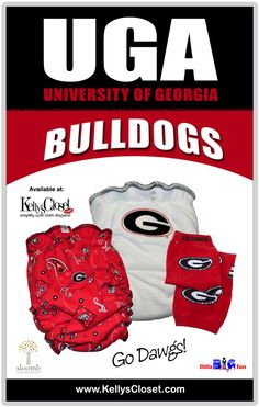 MY CHILDREN NEED THIS!!    University of Georgia Bulldogs UGA fitted cloth diapers and leg warmers for babies.  http://www.kellyscloset.com/Collegiate-Gear_c_994.html