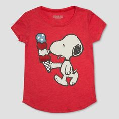 957d397a82 Peanuts Girls  Snoopy Ice Cream Graphic Short Sleeve T-Shirt - Red