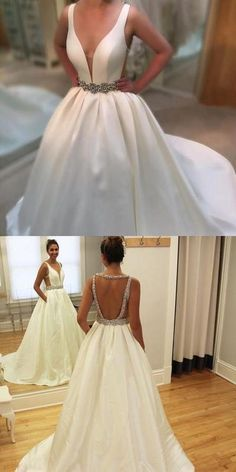 White Backless Bridal Dress,Beaded Ball Gown,Custom Made Evening Dress,17306
