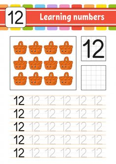 Learning numbers for kids. Activity page. Game for toddlers and preschoolers. Isolated vector illustration in cute cartoon style , Toddler Preschool, Preschool Activities, Preschool Alphabet, Alphabet Crafts, Alphabet Letters, Handwriting Practice, Handwriting Worksheets, Numbers For Kids, Kids Math Worksheets