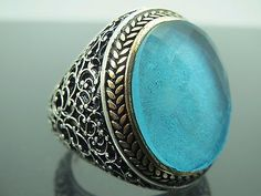 Turkish Handmade Ottoman 925 Sterling Silver Aquamarine Stone Men's Ring Sz 11