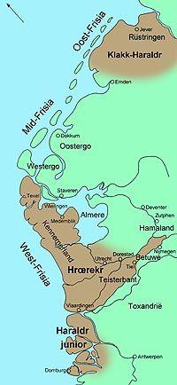 Nederland rond 900. Harald Klak bezat Oost Friesland. Rorik had West Friesland onder zich terwijl Harald zich bemoeide met het zuidelijk gedeelte van West Friesland