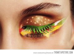 "Hamburger Eye Shadow - Who thinks of this? Are they just like, ""Hey I want to do something new with my make-up... lets just draw a hamburger on my eyelids?!?!"" I just don't understand...."