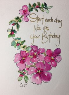 Pink Birthday Blooms Watercolor Card by gardenblooms on Etsy