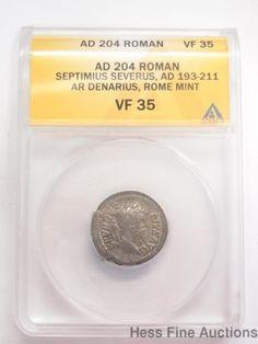 ANACS Roman AD 204 Septimus Severus AR Denarius Silver Coin VF 35