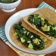 Kale and Black Bean Tacos with Chimichurri