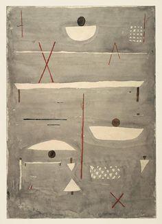 paul klee - aquarell auf papier auf karton - zeichen auf dem feld (1935)