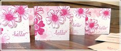 handmade notecard set from Barbara's creative studio .. . white and hot pink ... flowers from Flower Shop set with one punched and popped ... white space splatted with dots from Grunge set ... lovely set ... Stampin' Up!