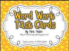 Free on TPT Kindergarten: Word Work Task Cards & Recording Sheets