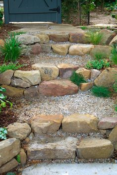 rock front step Stone And Pea Gravel Steps Design Ideas, Pictures, Remodel, and Decor - Gardening Front Steps Stone, Rock Steps, Outdoor Stone Steps, Hillside Landscaping, Landscaping With Rocks, Landscaping Ideas, Outdoor Landscaping, Decorative Rock Landscaping, Dry Riverbed Landscaping