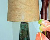 Vtg Brown Green Glazed Mid Century Modern Danish tall lamp - Chilo hardware -- No Shade