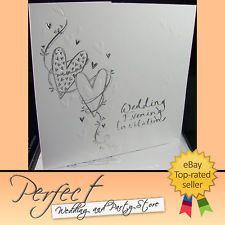 102 HEART DESIGN WEDDING EVENING RECEPTION INVITATIONS SILVER EMBOSSED WRITING