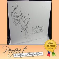 102 HEART DESIGN WEDDING EVENING RECEPTION INVITATIONS SILVER EMBOSSED WRITING