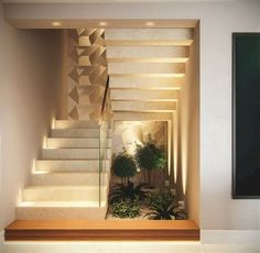 Indoor Garden Office and Office Plants Design Ideas For Summer 63 Home Stairs Design, Interior Stairs, Modern House Design, Interior Garden, Home Interior Design, Staircase Wall Decor, Modern Stairs, House Stairs, Home Decor