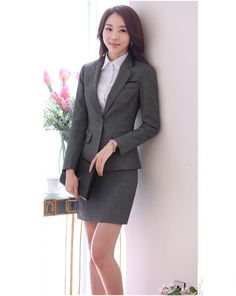 e67530132 2016 Winter Formal OL Office Uniform Design Women Pant Suits Blazer 2 piece  Sets Gray Elegant Ladies Business Workwear Clothes > Nice plus size clothing  ...