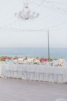 Outdoor Wedding reception blue decor overlooking the water with string lights - Photography: JBJ Pictures | Colorful Cabo Destination Wedding - Belle The Magazine Wedding Centerpieces, Wedding Decorations, Wedding Ideas, Event Photography, Light Photography, Best Bride, Honeymoon Spots, Something Blue Wedding, Up To The Sky