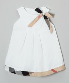 Another great find on #zulily! White & Tan Yoke Dress - Infant, Toddler & Girls by Emily Lacey #zulilyfinds