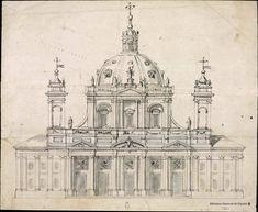 [Proyecto de fachada de una iglesia o catedral]. Rodríguez, Ventura 1717-1785 — Dibujo — 1748-1750