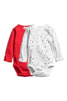 2-pack Long-sleeved Bodysuits - Red - | H&M CA 1