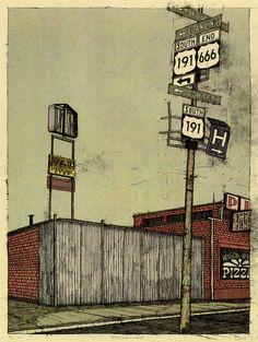 "Illustration / Landland — Devil Town: ""84535 (no horsehead, no stoplights)"""