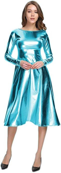 WOLF UNITARD Long Shiny Metallic Dresses for Women Large Turquoise Satin Dresses, Sexy Dresses, Beautiful Dresses, Dress Outfits, Sparkly Dresses, Party Outfits, Nice Dresses, Metallic Dress, Sequin Dress