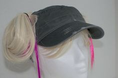 Charcoal Gray Pigtail Hat