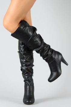0c8b34f6b56 Bamboo Valencia-05 Leatherette Slouchy Knee High Boot