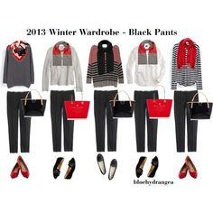 """Winter Wardrobe - Black Pants"" by bluehydrangea on Polyvore  great for work"