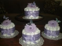 Purple Butterlfy Baby Shower Centerpieces by bearbottomdiapercakes, $12.50