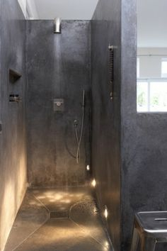 shower with no curtain or no glass to clean!