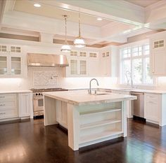 Coffered Kitchen Ceiling - Transitional - kitchen - Muralo Paints Color Majestic Sky - by Michelle Winick Design White Kitchen Cabinets, Kitchen Redo, Kitchen Remodel, Kitchen Design, Grey Cabinets, Kitchen Layout, Kitchen Island, Kitchen White, Kitchen Ideas