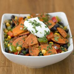 Take out the Greek yogurt.....  You Know You Want To Make This Hearty Sweet Potato And Black Bean Stir-Fry