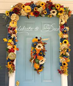 DIY Fall Front Door Decor. Use pool noodle for outdoors. Back side use button method to keep the wire from cutting through noodle.  After pulling the wire through button & twist two ends into a circle to hang on Command hook.