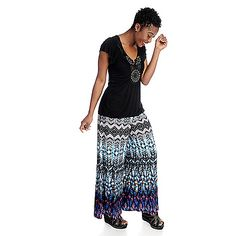 721-869 - One World Knit Bubble Hem Flutter Sleeved Top & Printed Palazzo Pants Set