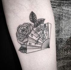 Japanese fan  camellia | 2nd tattoo | Azusa @ Tokyo Three Tides