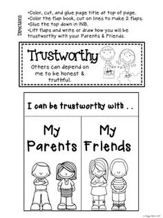 Character education workbook worksheets for elementary for Six pillars of character coloring pages